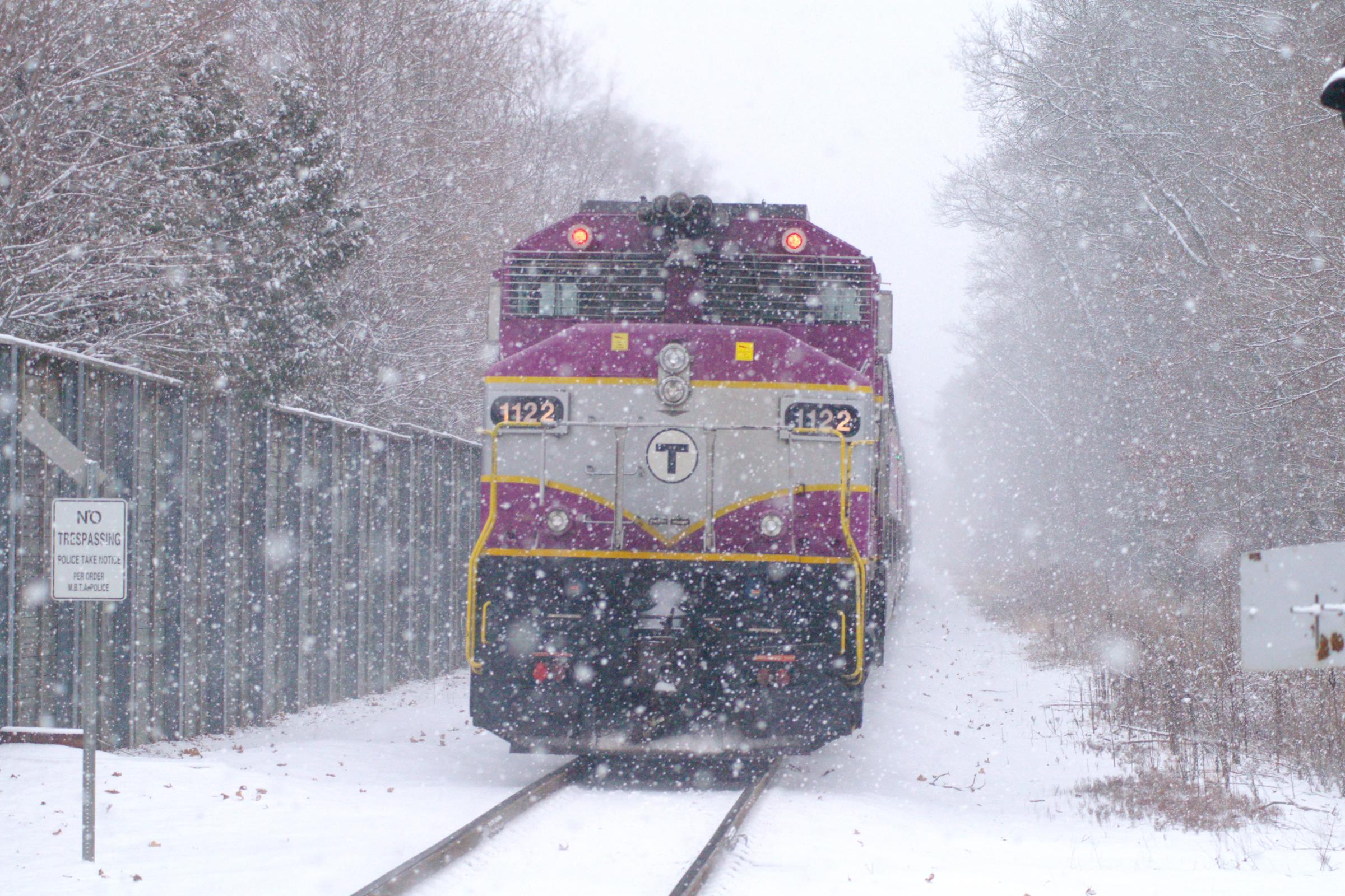 Snowstorm shot of MBTA unit